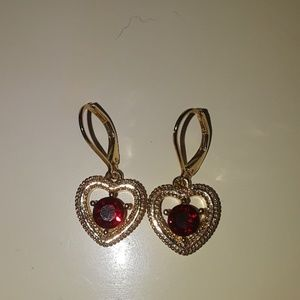 Ruby and Gold Heart Earings